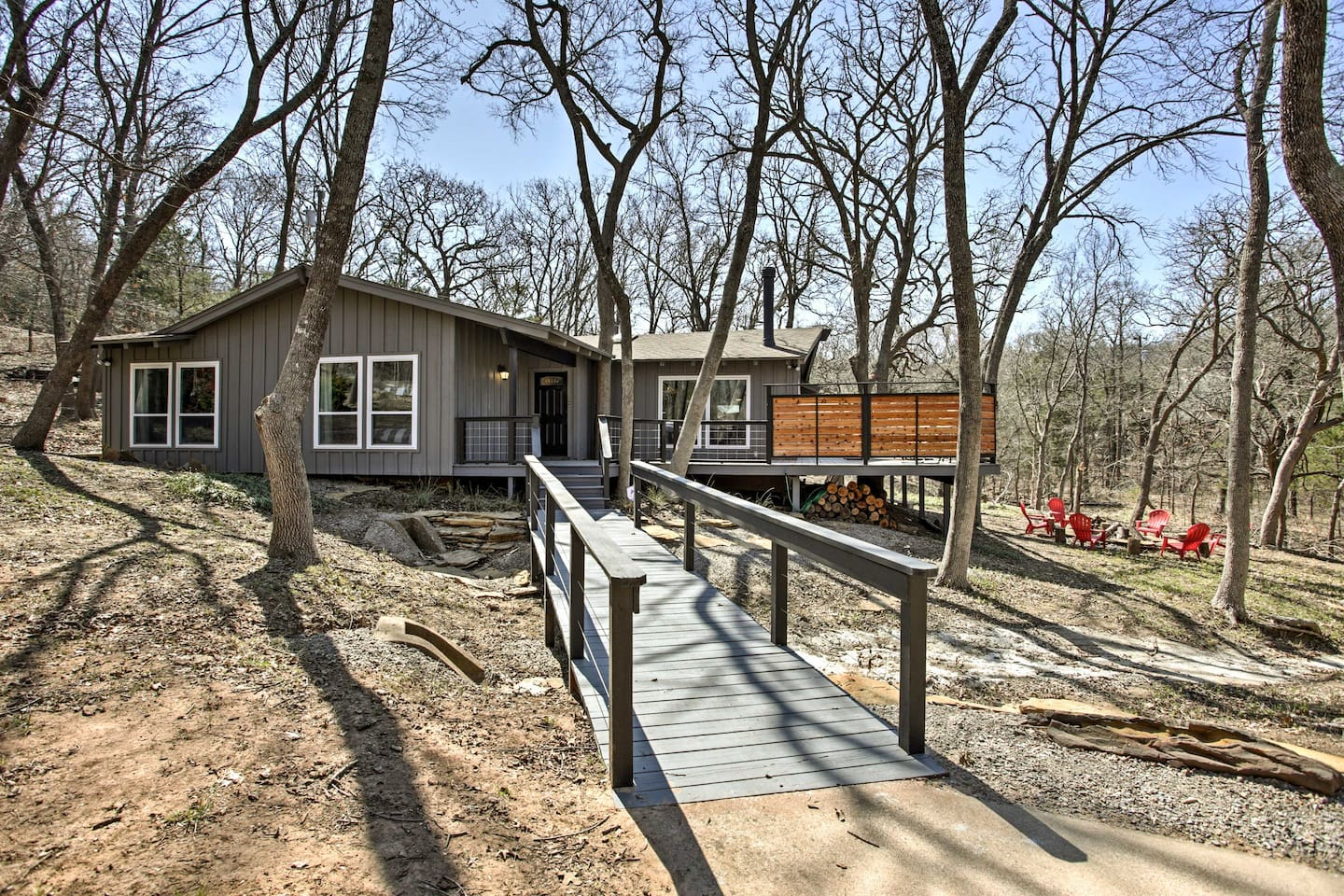 This 4-bedroom, 2-bathroom cabin is a half mile from the marina!