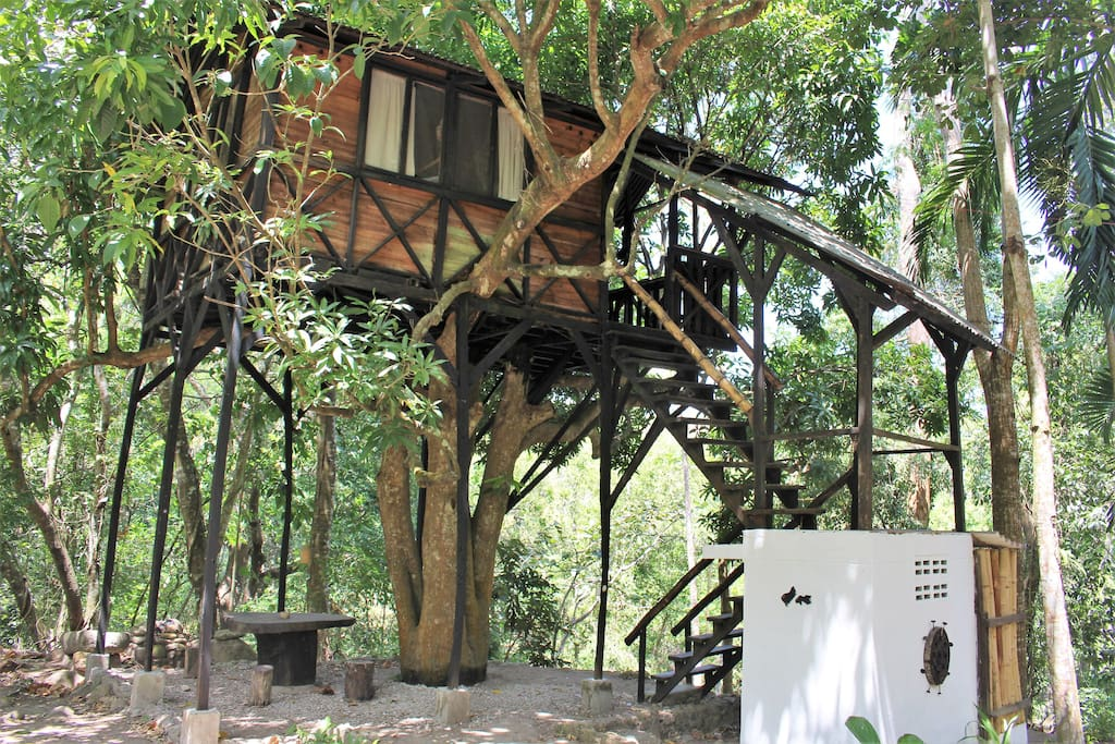The tree house with its private bathroom and shower.