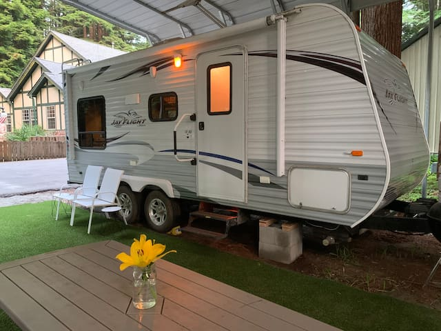 Modern Trailer in cozy Redwood setting