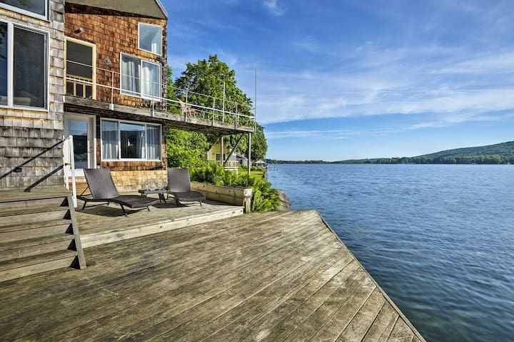 This lakefront vacation rental home offers gorgeous water views.