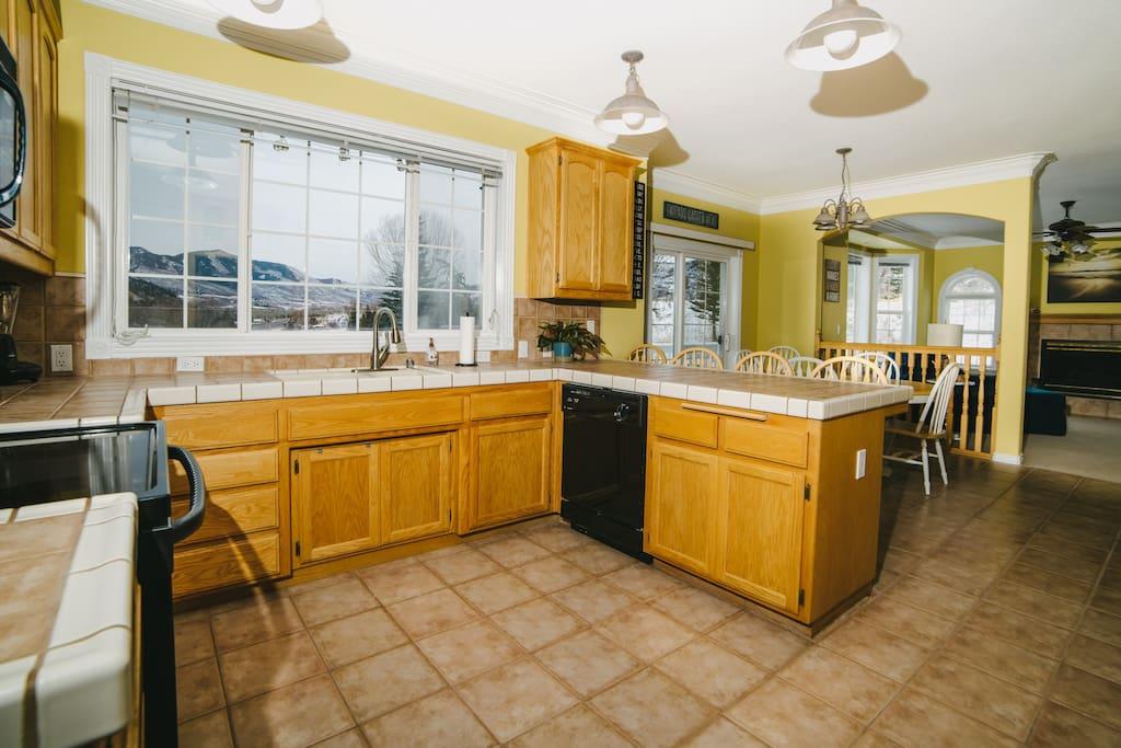 Kitchen with Views Toward Aspen (Wintertime)