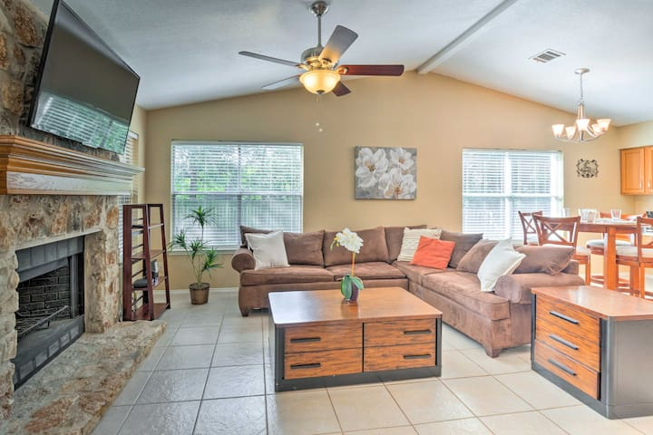 Kick back on the plush sectional couch in front of the flat-screen HDTV.