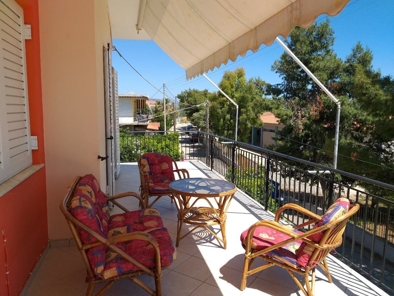Relax and enjoy the view from the large veranda of the apartment