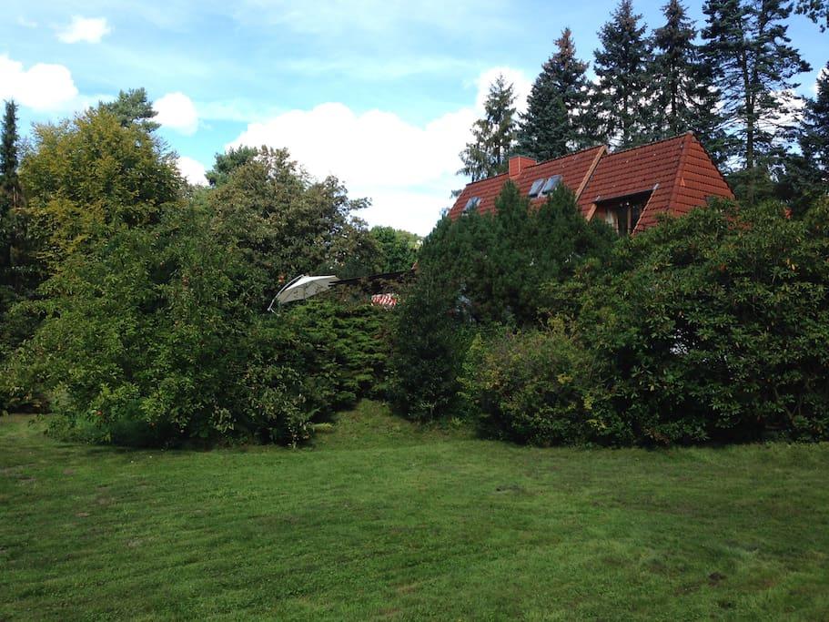 Garten mit Blick auf das Haus