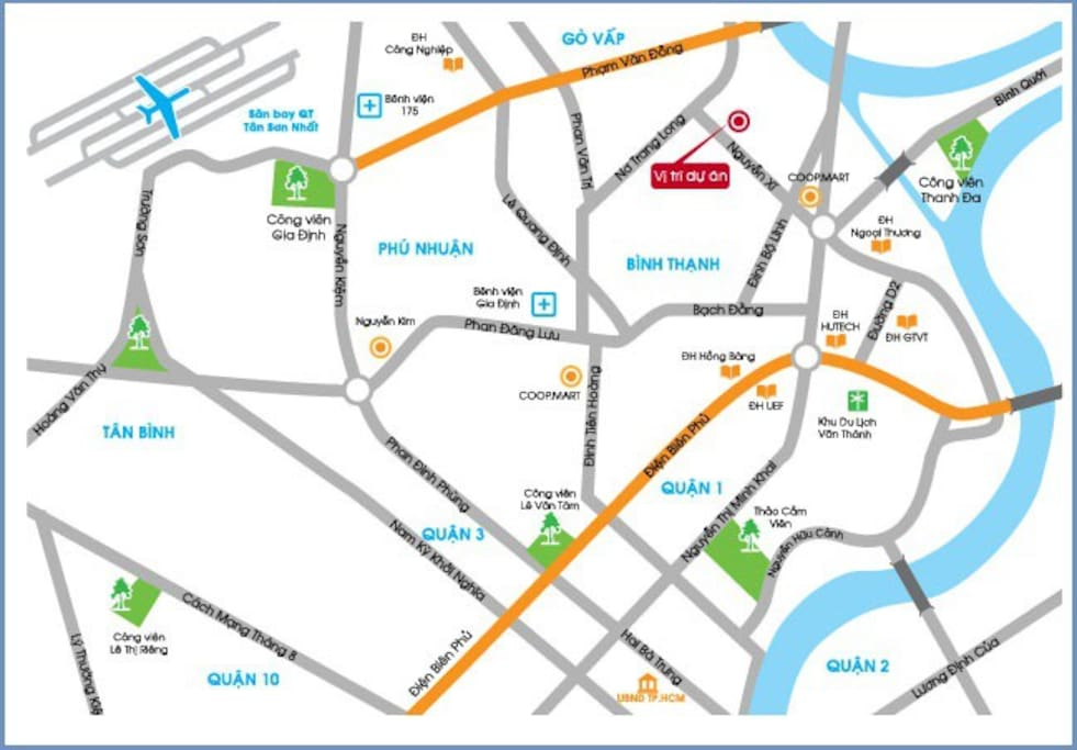 The red point is the location of the building. From Tan Son Nhat Airport, you can go by taxi. It will take about 15 minutes