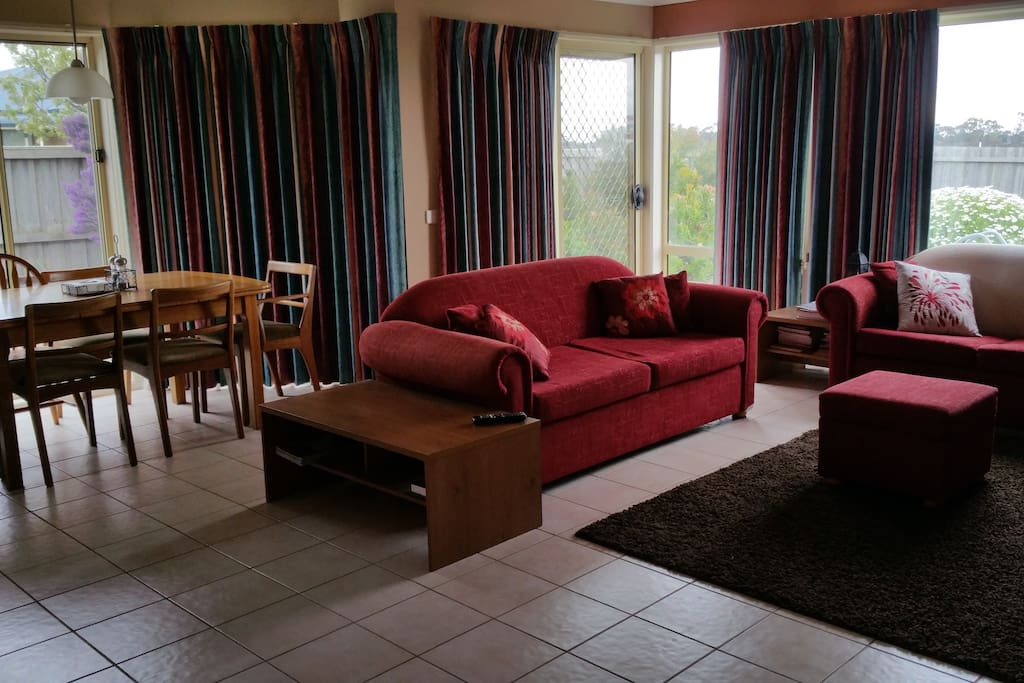 Dining and family room including double size sofa bed if needed