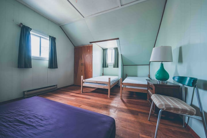 This room sleeps 3 on single beds and includes closet and nightstand.