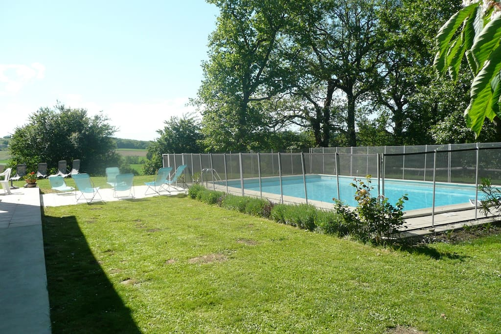 The fully fenced pool (the fence can be taken down for parties without children)