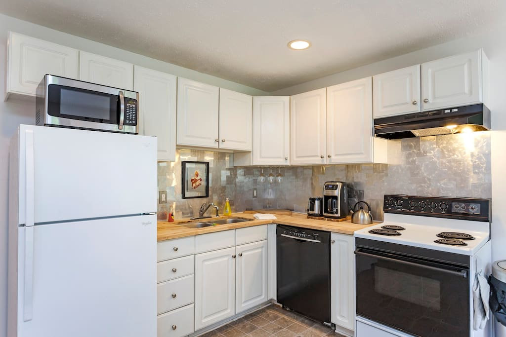 Full Sized Kitchen with Full Sized Oven, Full Sized Refrigerator, Dishwasher, Pots, Pans, and All the Equipment You Need to Prepare a Delicious Meal