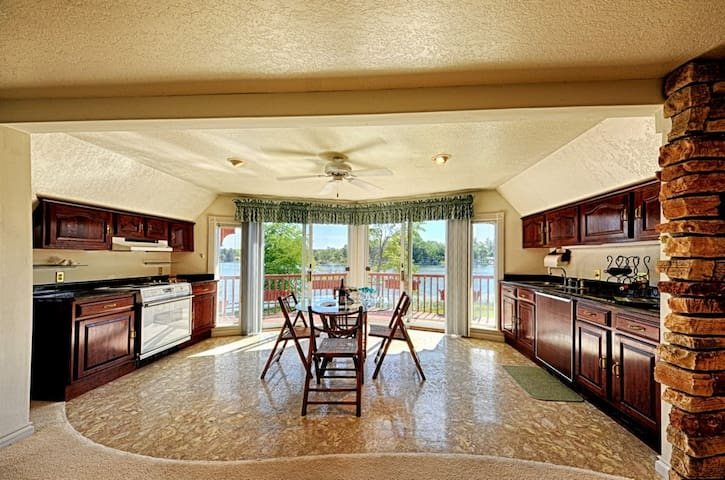 Upstairs kitchen with mini fridge, oven, and breathtaking views!