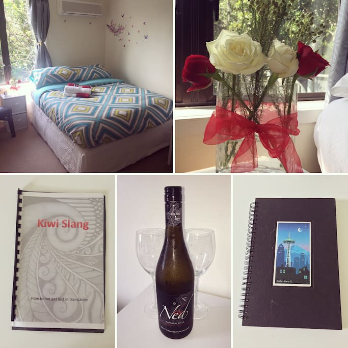 Photo collage of the room prepared for our first Airbnb guest.