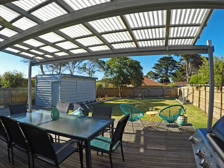 Rear deck with outdoor setting, BBQ, ceiling fan and prep sink/bench
