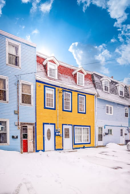 This beautiful home sits on a colourful block of jellybean row houses