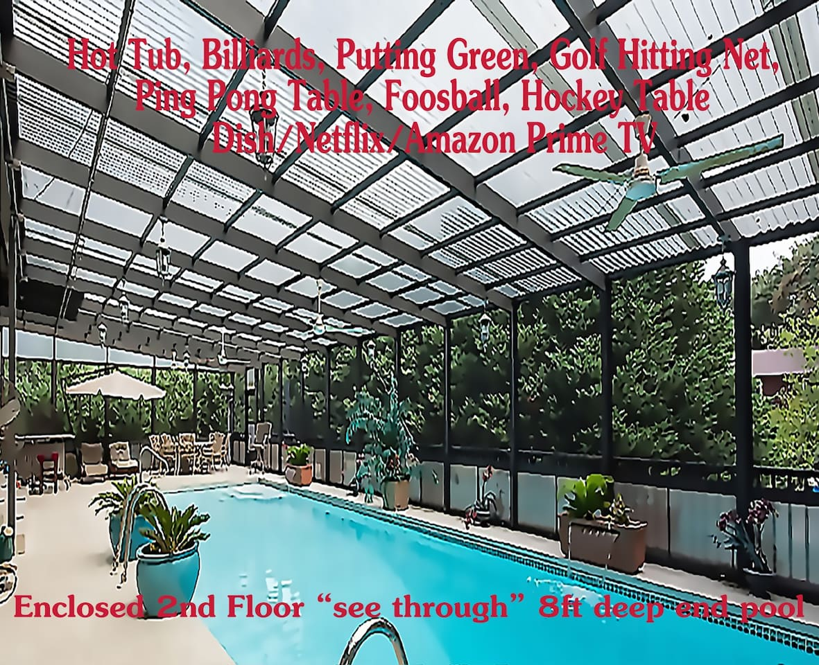 Enclosed 2nd fl. see through 8 ft.deep end pool (15x45')  w/many game tables like billiards etc. - see photos