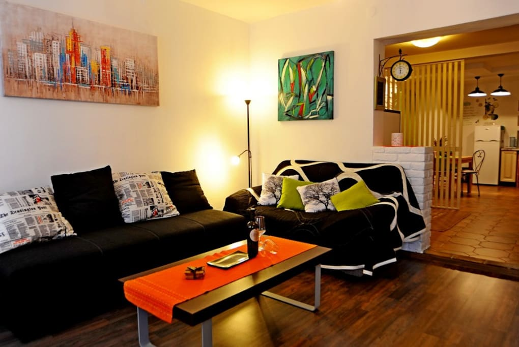 Comfortable living room with extendable sofa