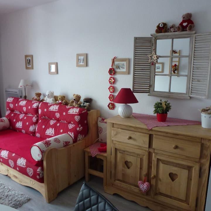 chaleureux studio 30 m2 avec vue vallée, classé 3*