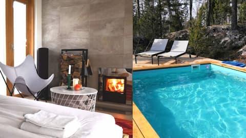 Unikalny apartament gościnny z sauną i podgrzewanym basenem 3x5m