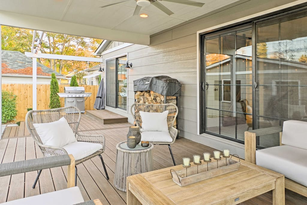 Eight travelers can relax and unwind on the covered back patio during your stay.