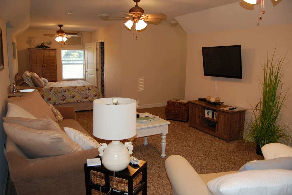 "Living space also has wall mounted 48"" HDTV with FiOS Cable and high speed wireless internet."