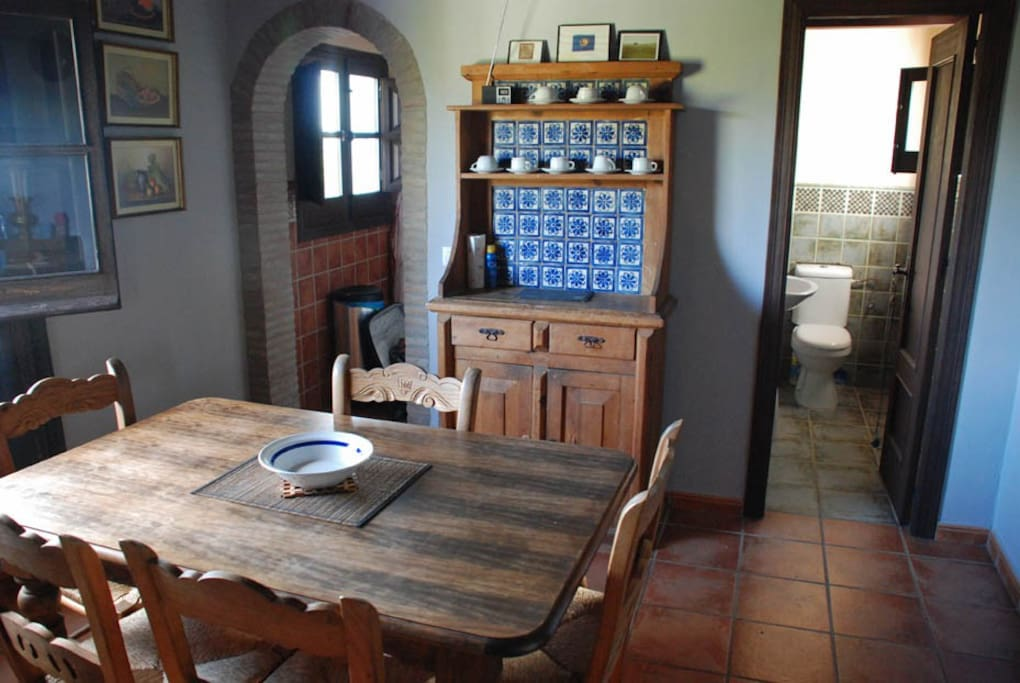 Upstairs dining area and second bathroom