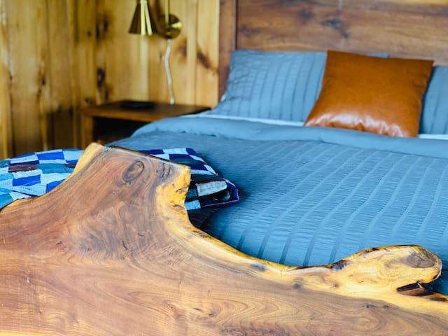 Live Edge footboard on bed frame