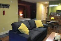 Brand new double pull out sofa with linens provided.