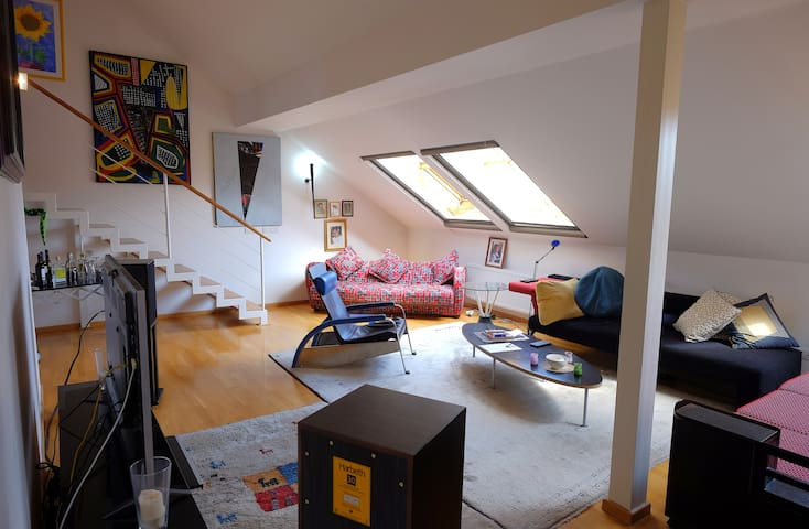 Duplex loft, en suite bath, roof terrace, lift, AC