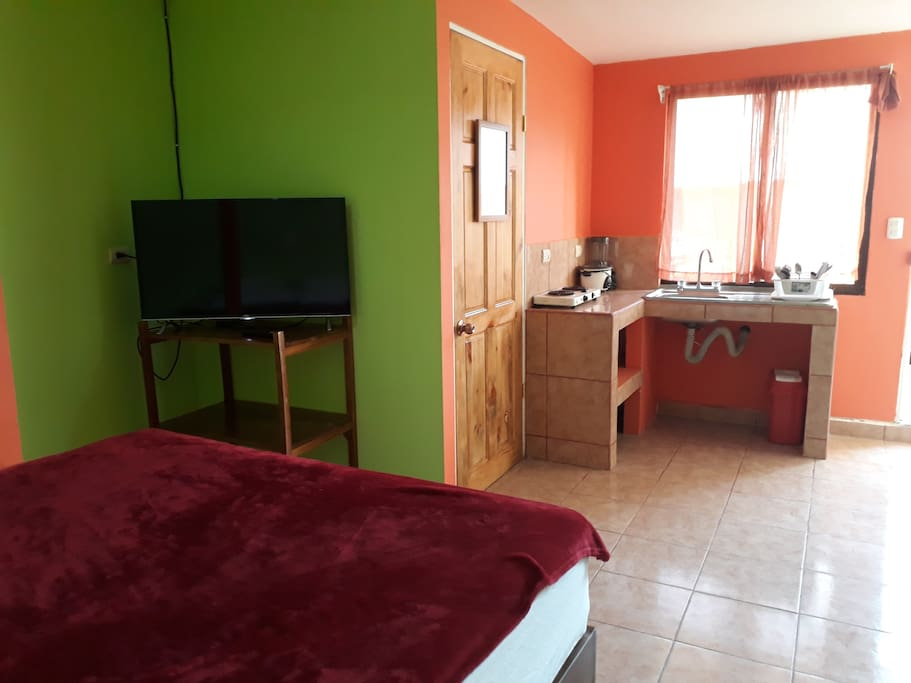 Studio with TV, AC and kitchenette