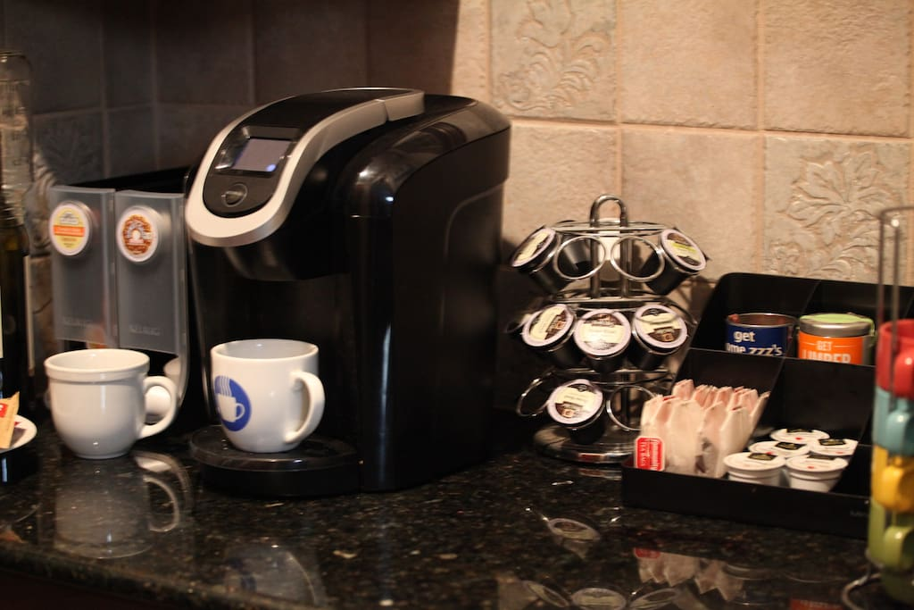 Coffee and tea Bar. Keurig with supplies.