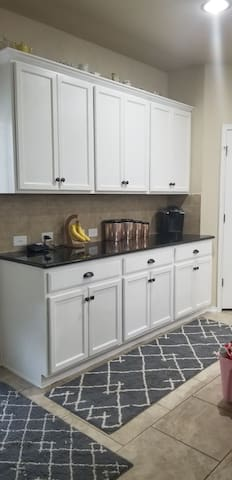 Keurig and snack area in kitchen