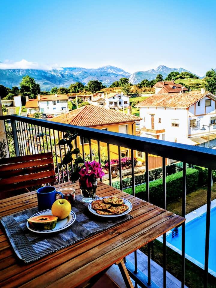 Diañu, apartamento con piscina en Llanes