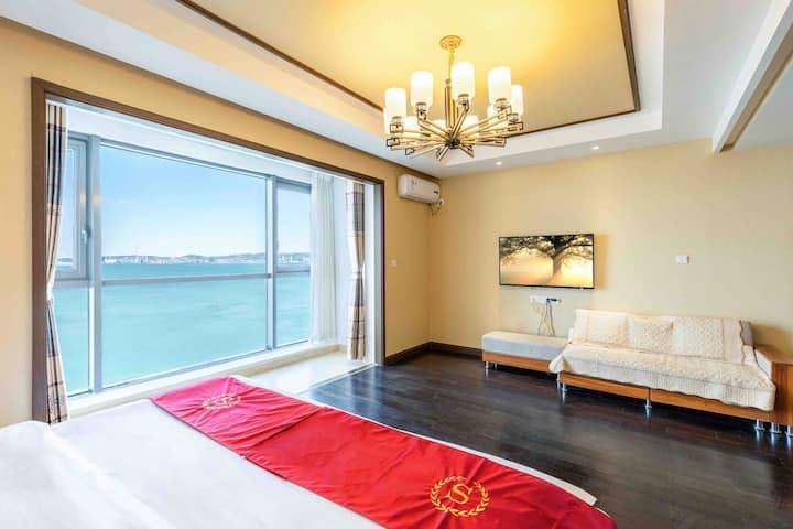 270度海景房,纯粹正宗海景,楼下就是海边,躺床上看海,华润湾九里,地暖保安,机场接送,市中心刘公岛