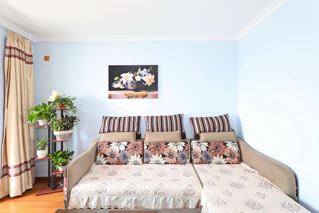 客厅宽敞舒适,沙发拉开可以变成一张舒适的双人床。