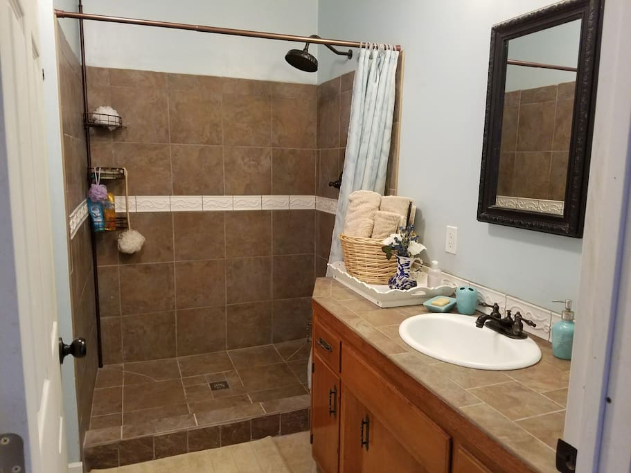 Large bathroom with shower, sink and toilet.