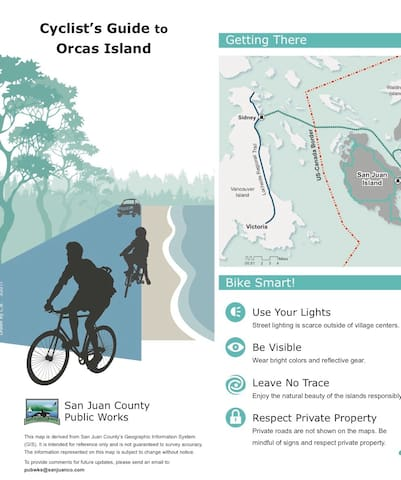Orcas Island Cyclists Guide available at the cabin