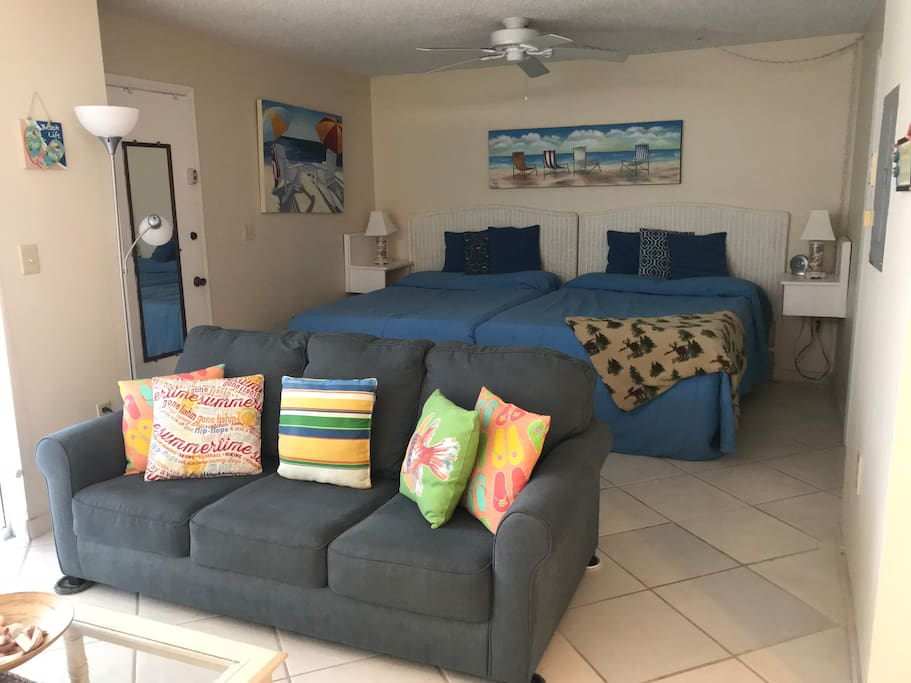 Condo Flow from TV area to sleeping space (two double beds and sleeper sofa)