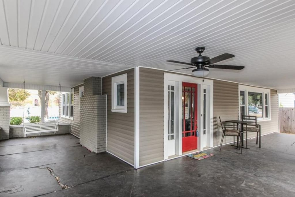 Wrap around porch perfect for game days!