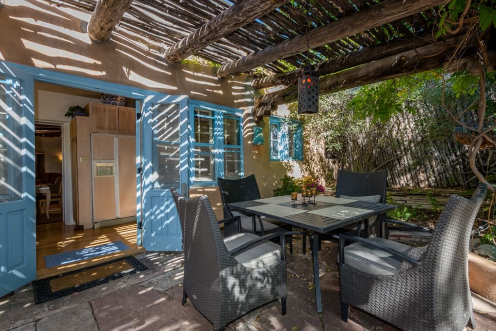 Shaded patio for outdoor dining