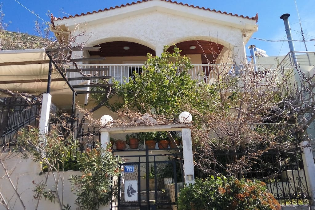 House from road level, garden and small siting areas at basement, main veranda at top floor