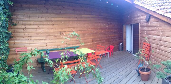 studio/terrasse sous les toits