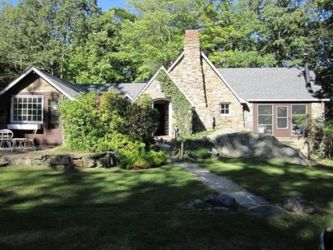 Bavarian Stone Cottage on 10 Private Acres with Stream and Pond Great Hiking or just relax by the fire.