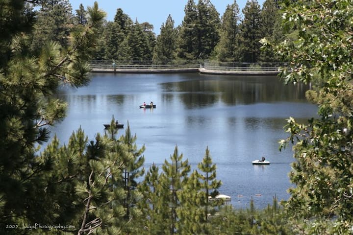 Lake is fully stocked with fish several times a year.  2 min walk.