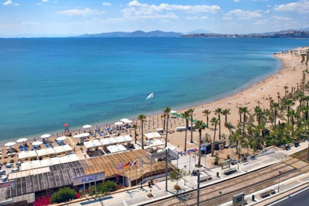 Beachside 100m from the appartment with tram station and to the left-private beach Poseidon