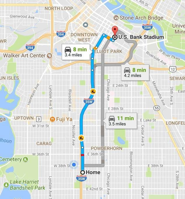 3.4 miles from the stadium!