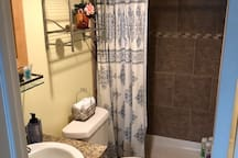 Walk-in shower with soap, shampoo and conditioner provided. Ask us for laundry room access if needed!