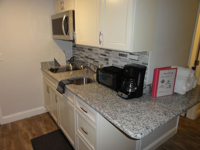 Kitchen with Microwave, Toaster Oven & Coffee