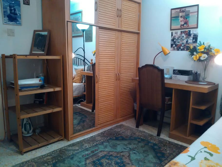 Bedroom cupboard and writing desk.