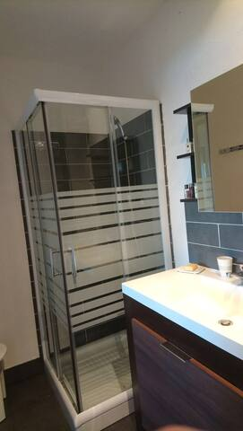 Salle de bain avec douche. Baignoire bébé à disposition.