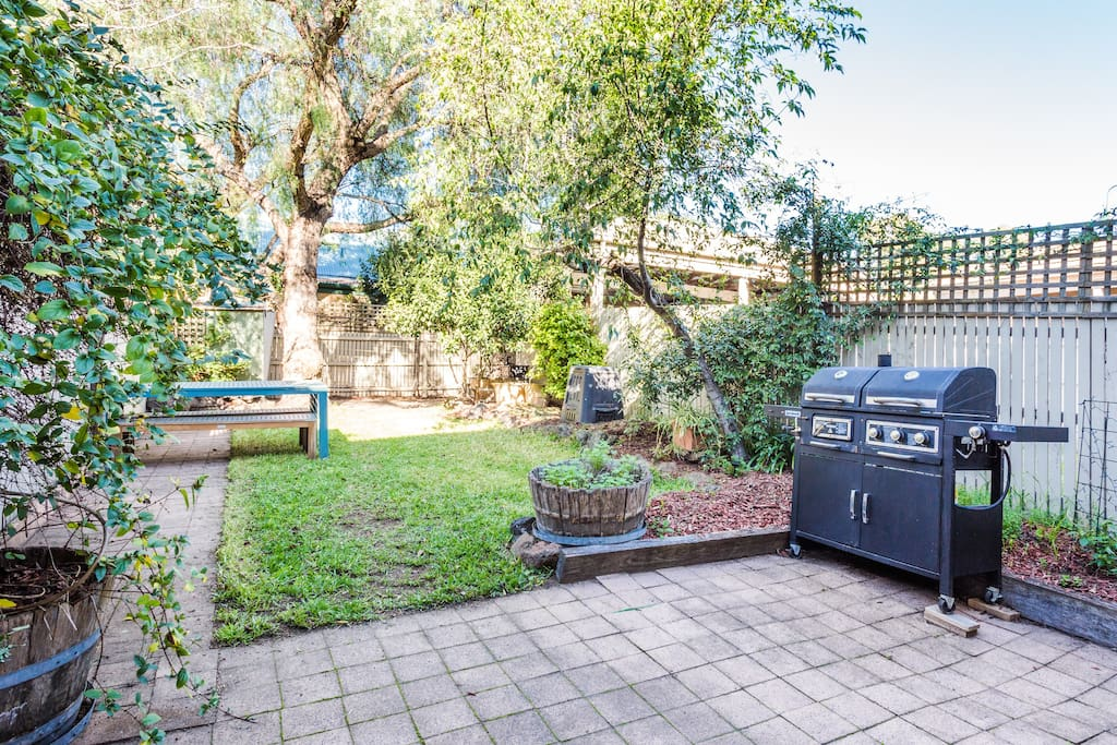 Our leafy backyard - perfect for a BBQ.