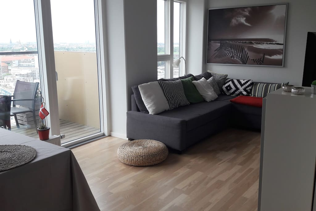 The living room and balcony